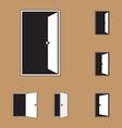 Set of black door icons vector image