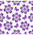 Seamless pattern with violet vintage flowers vector image vector image
