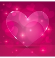 Pink thin shining glass heart on lights background vector image vector image