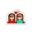 in paper sticker style girls vector image