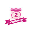 2 february calendar with ribbon vector image
