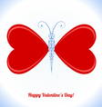 Butterfly with wings in the form of red hearts vector image vector image