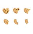 bitten chip cookie set vector image