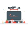 Geek Happy New Year and Christmas Card with vector image