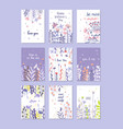 greeting cards set trendy cards for valentines vector image