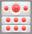 player red buttons set vector image