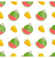 seamless pattern with yellow pepper and watermelon vector image