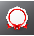 044 White badge banner with red ribbon eps10 vector image