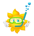 cartoon sun with mask and snorkel vector image vector image