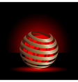 Gold spiral with red light balls background vector image
