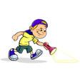 boy with flashlight vector image