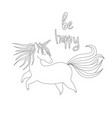 cute handdrawn unicorn vector image