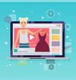 happy blogger girl in a laptop handsome woman vector image