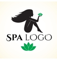 Logo for spa or beauty salon with woman vector image