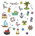 Nautical cartoon set vector image