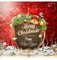 Wooden banner with Christmas Fir-tree branches vector image