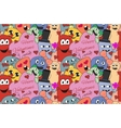 Monsters Valentine day Seamless pattern vector image