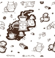pattern cup of coffee grinder and beans vector image