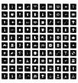 100 hobby icons set grunge style vector image