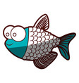 aquamarine silhouette of fish with big eyes and vector image