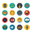 Music icons set mobile round solid vector image