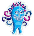 Character monster flat crazy smiling blue m vector image