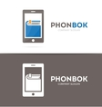 Book and phone logo combination Novel and vector image