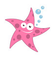 cartoon starfish with bubbles vector image
