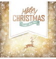 christmas deer on golden background vector image