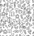 Doodle seamless pattern with paper clips of vector image
