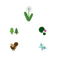 flat icon ecology set of floral bird lotus and vector image