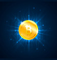 golden bitcoin digital currency on circuit board vector image