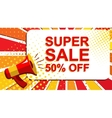 Megaphone with SUPER SALE 50 PERCENT OFF vector image