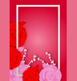 paper art style of rose flowers and frame on pink vector image
