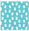 Seamless snowmans pattern vector image