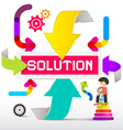 Solution Title with Colorful Paper Arrows vector image