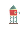 water tower wooden farm building cartoon vector image