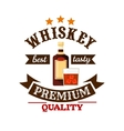 Whiskey premium quality bar menu label vector image