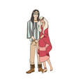 young man and woman with long hair dressed in vector image