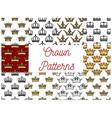 Royal crowns seamless patterns vector image