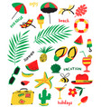 set with summer beach objects with vector image