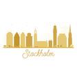 Stockholm City skyline golden silhouette vector image