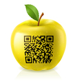 Yellow apple and QR Code vector image vector image