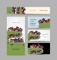 business cards design green village vector image
