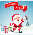 christmas sale background with santa claus vector image