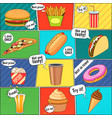 Fast Food Comic Panels Collection Poster vector image