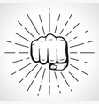 fist with sunbursts hand silhouette vector image