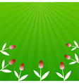 Green summer background with red tulips vector image