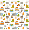 Hiking seamless pattern with flat camping elements vector image