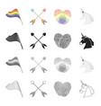 rainbow flag crossed arrows fingerprints vector image